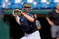 Tayden Hall (21) of Steinbrenner High School in Lutz, FL during the Perfect Game National Showcase at Hoover Metropolitan Stadium on June 17, 2020 in Hoover, Alabama. (Mike Janes/Four Seam Images)