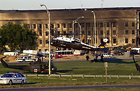 11 September 2017 - America remembers the fateful day of 9/11/2001 on the commemoration on the 16th anniversary of the terrorist attacks that killed nearly 3,000 people when hijackers flew commercial airplanes into New York's World Trade Center, the Pentagon and a field near Shanksville, Pennsylvania File Photo: Sep 12, 2001; Washington, DC, USA; President Bush arrives via helicopter to view the Pentagon damage first hand, where over 200 people have died, including 64 passengers on American Airlines Flight 77, after an attack on America by terrorists. <br /> CAP/ADM/LF<br /> &copy;LF/ADM/Capital Pictures