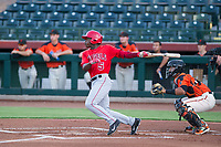 AZL Angels left fielder Johan Sala (5) hits during a game against the AZL Giants on July 10, 2017 at Scottsdale Stadium in Scottsdale, Arizona. AZL Giants defeated the AZL Angels 3-2. (Zachary Lucy/Four Seam Images)