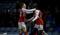 Fleetwod Town's Toumani Diagouraga  celebrates scoring his first goal of the match with team mate Ashley Hunter <br /> <br /> Photographer Hannah Fountain/CameraSport<br /> <br /> The EFL Sky Bet League One - Southend United v Fleetwood Town - Saturday 13th January 2018 - Roots Hall - Southend<br /> <br /> World Copyright &copy; 2018 CameraSport. All rights reserved. 43 Linden Ave. Countesthorpe. Leicester. England. LE8 5PG - Tel: +44 (0) 116 277 4147 - admin@camerasport.com - www.camerasport.com