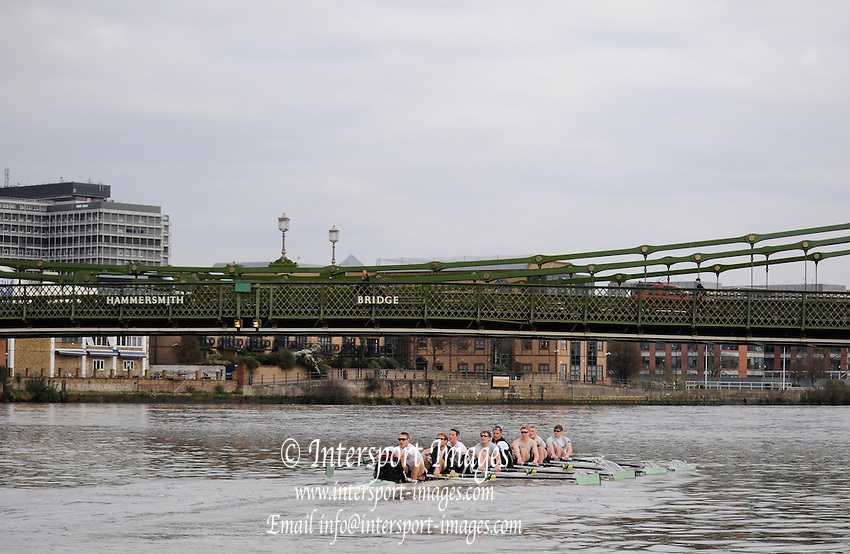 Putney. London. Tideway Week build up to the   2011 University Boat Race over parts of the Championship Course - Putney to Mortlake. Cambridge, CUBC, paddle towards Hammersmith. Monday  21/03/2011 [Mandatory Credit; Karon Phillips/Intersport-images]..Crews:.CUBC. Bow Mike THORP, 2 Joel JENNINGS, 3 Dan- RIX STANDING, 4 Hardy CUBASCH, 5 George NASH, 6 Geoff ROTH, 7 Derek RASMUSSEN, Stroke David NELSON and Cox Liz BOX. 2011 Tideway Week