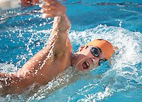 David Mariscal '18 competes in the men's 1000 yard freestyle. The Occidental College swim team competes against Lewis & Clark College and Westminster College in Taylor Pool on Jan. 6, 2015. (Photo by Marc Campos, Occidental College Photographer)