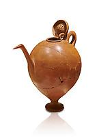 Terra cotta Hittite beaker shaped side spouted pitcher with lid - 1700 BC to 1500BC - Kültepe Kanesh - Museum of Anatolian Civilisations, Ankara, Turkey. Against a white background