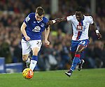 Seamus Coleman of Everton escapes Pape Souare of Crystal Palace - Everton vs Crystal Palace - Barclays Premier League - Goodison Park - Liverpool - 07/12/2015 Pic Philip Oldham/SportImage