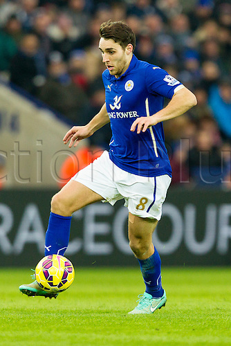 07.02.2015.  Leicester, England. Barclays Premier League. Leicester City versus Crystal Palace. Matty James of Leicester City on the ball.