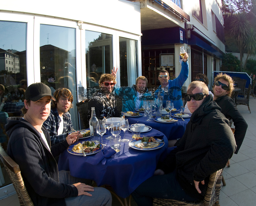 Taj with friends enjoying a late afternoon lunch for simon's birthday in Bachio, Spain.