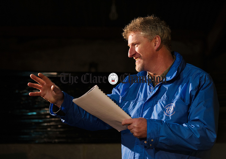 "Producer John Clancy in rehearsals for Corofin Dramatic Society's production of the ""The New Electric Ballroom""  by Enda Walsh. Photograph by John Kelly."
