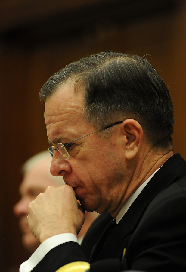 Washington, D.C.- Adm. Mike Mullen, chairman of the Joint Chiefs of Staff, testifies before the House Armed Services Committee about President Obama's proposed fiscal 2011 budget on Feb. 3, 2009. (Amanda Lucidon/For The New York Times) .