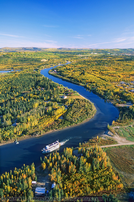 Aerial of Fairbanks, Alaska, sternwheeler River Boat Discovery on the Chena River.