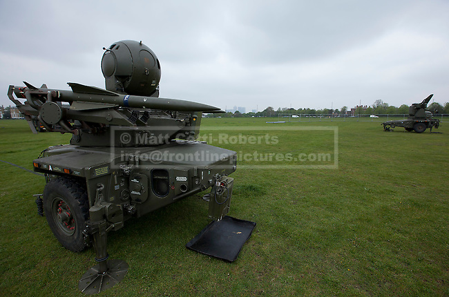 02/05/2012. LONDON, UK. A Rapier air defence missile system of Sphinx Battery, 16 Regiment Royal Artillery, is seen on Blackheath in London today (02/04/12). As part of an exercise testing military procedures and security across London for the 2012 Olympic Games a Rapier Surface to Air Missile System (SAM) has been deployed to Blackheath in South East London. Photo credit: Matt Cetti-Roberts