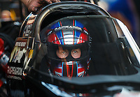 Sep 23, 2016; Madison, IL, USA; NHRA top fuel driver Wayne Newby during qualifying for the Midwest Nationals at Gateway Motorsports Park. Mandatory Credit: Mark J. Rebilas-USA TODAY Sports