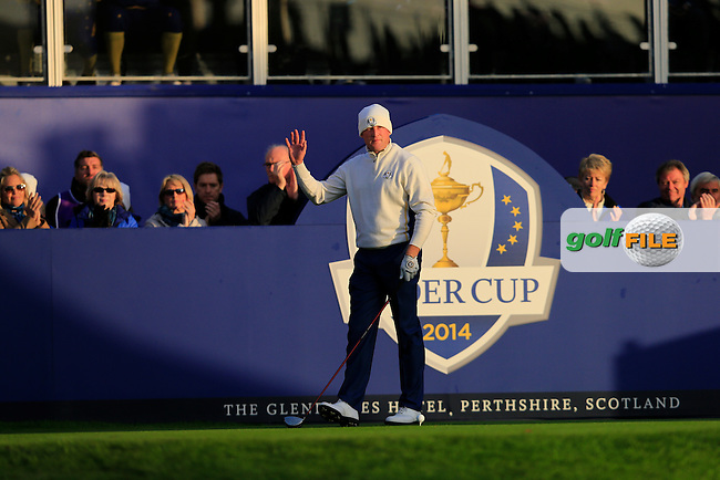 Jamie Donaldson (EUR) on the 1st tee during the Saturday Fourball Matches of the Ryder Cup at Gleneagles Golf Club on Saturday 27th September 2014.<br /> Picture:  Thos Caffrey / www.golffile.ie
