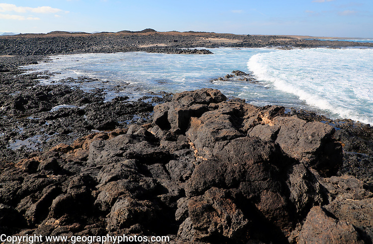 Coastal landscape near Majanicho on north coast of Fuerteventura, Canary Islands, Spain
