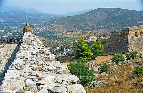 Ruins of Palamidi fortress wall in Nafplion Greece Europe