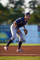 State College Spikes third baseman Cole Lankford (3) during a game against the Batavia Muckdogs August 22, 2015 at Dwyer Stadium in Batavia, New York.  State College defeated Batavia 5-3.  (Mike Janes/Four Seam Images)
