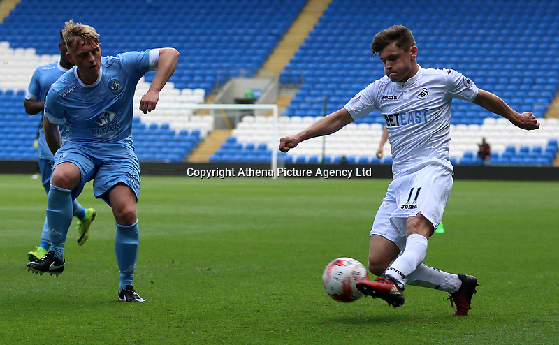 Keiran Evans of Swansea City during the FAW Youth Cup match between Swansea City and Cambrian and Clydach at The Cardiff City Stadium, Cardiff, Wales, UK. Sunday 23 April 2017