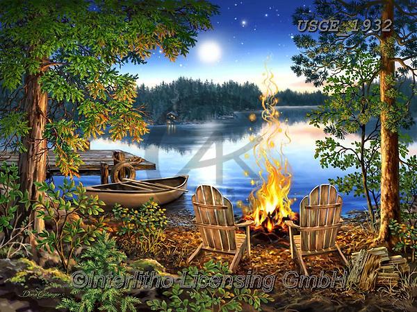 Dona Gelsinger, LANDSCAPES, LANDSCHAFTEN, PAISAJES, paintings+++++,USGE1932,#l#, EVERYDAY,campfire,lake,boat