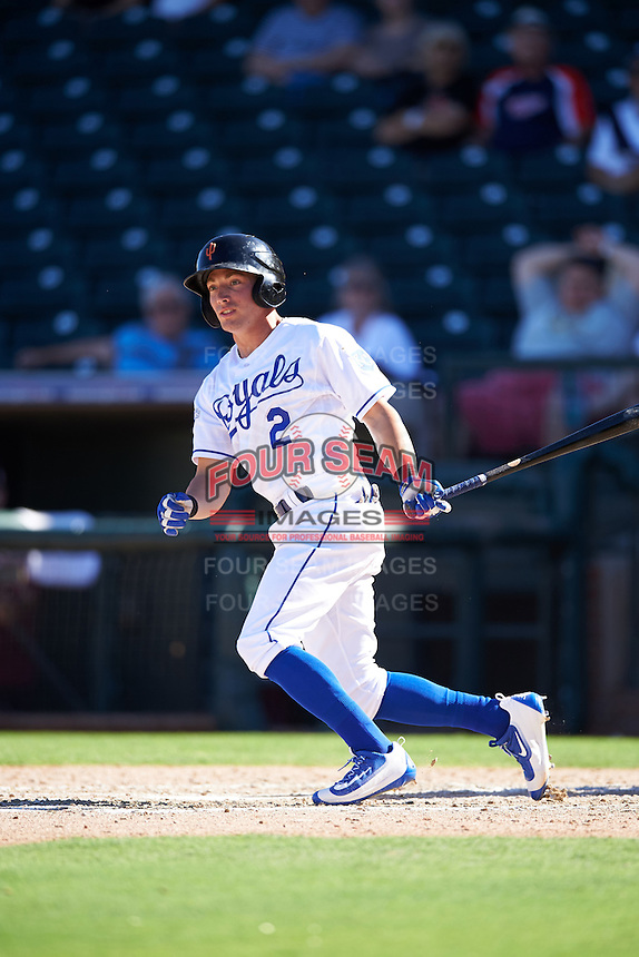 Surprise Saguaros Corey Toups (2), of the Kansas City Royals organization, during a game against the Salt River Rafters on October 17, 2016 at Surprise Stadium in Surprise, Arizona.  Surprise defeated Salt River 3-1.  (Mike Janes/Four Seam Images)
