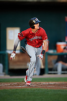 Erie SeaWolves first baseman Dominic Ficociello (25) runs the first base during a game against the Harrisburg Senators on August 29, 2018 at FNB Field in Harrisburg, Pennsylvania.  Harrisburg defeated Erie 5-4.  (Mike Janes/Four Seam Images)