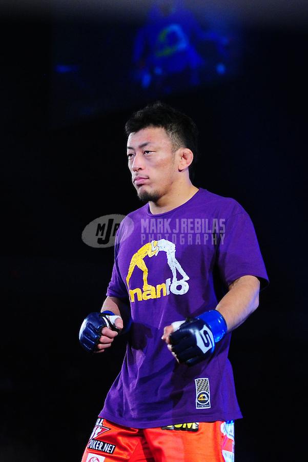 Apr. 9, 2011; San Diego, CA, USA; Strikeforce lightweight world championship fighter Tatsuya Kawajiri during a bout at the Valley View Casino Center. Mandatory Credit: Mark J. Rebilas-