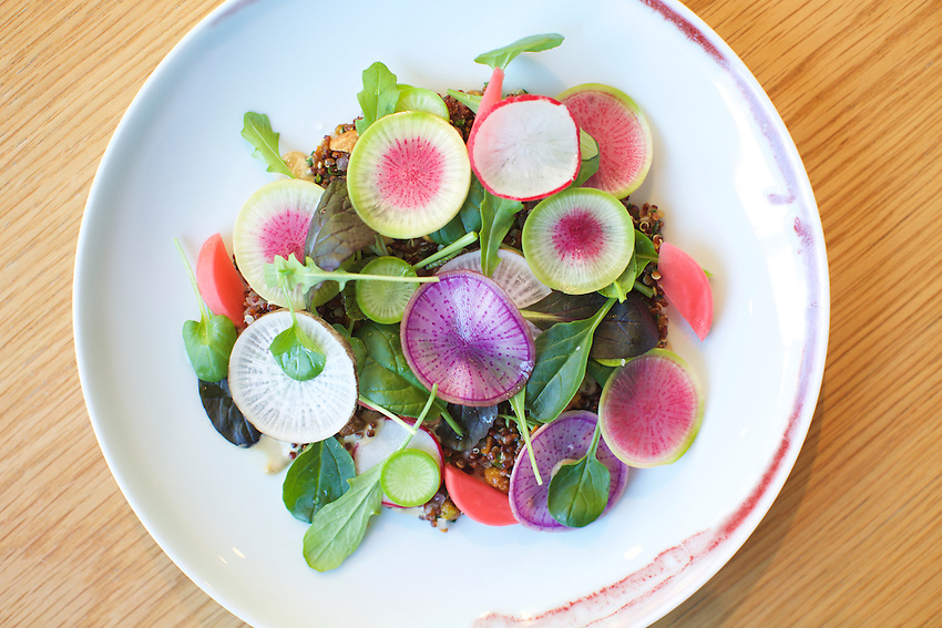 New York, NY - February 2, 2016: Spicy winter greens salad, quinoa, pistachio at Untitled (at The Whitney).<br /> <br /> CREDIT: Clay Williams for Edible Manhattan.<br /> <br /> &copy; Clay Williams / claywilliamsphoto.com
