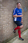 © Joel Goodman - 07973 332324 . 22/09/2013 . Lancing , UK . Shadow Chancellor Ed Balls ' poses wearing his rainbow laces worn in support of an anti homophobia in football campaign , following the matching . Labour Party vs journalists football match . Day 1 of the Labour Party 's annual conference in Brighton . Photo credit : Joel Goodman