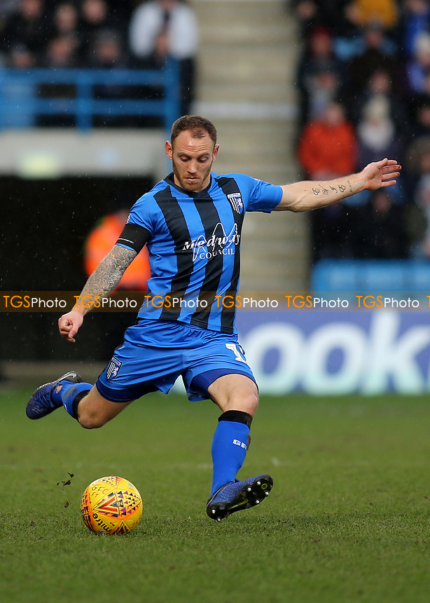 Barry Fuller of Gillingham in action during Gillingham vs Barnsley, Sky Bet EFL League 1 Football at The Medway Priestfield Stadium on 9th February 2019