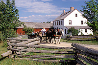 New Brunswick, NB, Canada, Wagon rides at King's Landing Historical Settlement next to Hagerman House.