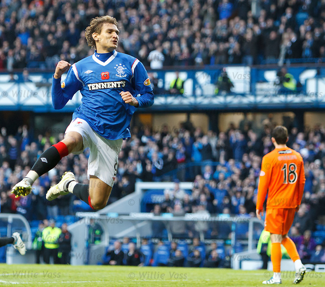 Nikica Jelavic celebrates after he opens the scoring for Rangers and opens up a 15 point lead over celtic in the SPL
