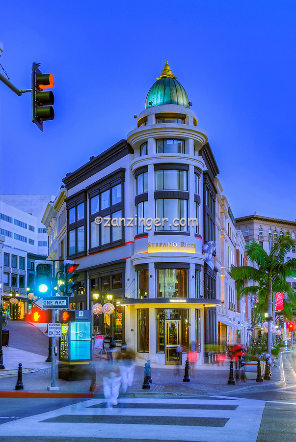 Via Rodeo, Two Rodeo, Beverly Hills; Rodeo Drive; Dusk, Night Lit, Luxury Shopping; Los Angeles CA; , Vertical image