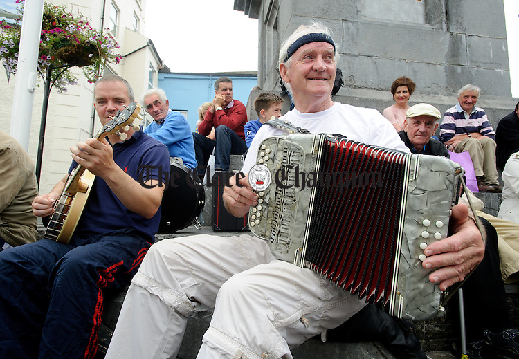 Steven Connolly and Billy Carr playing in The Square during Fleadh Cheoil na hEireann in Ennis. Photograph by John Kelly.
