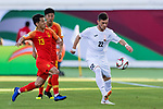 Anton Zemlianukhin of Kyrgyz Republic (R) battles for the ball with Chi Zhongguo of China (L) during the AFC Asian Cup UAE 2019 Group C match between China (CHN) and Kyrgyz Republic (KGZ) at Khalifa Bin Zayed Stadium on 07 January 2019 in Al Ain, United Arab Emirates. Photo by Marcio Rodrigo Machado / Power Sport Images