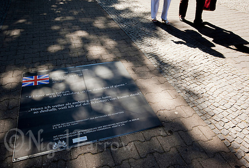 24 AUG 2009 - BERLIN, GER - The British contribution, a quote from Sir Isaac Newton, on the Path of Visionaries in Berlin (PHOTO (C) NIGEL FARROW)