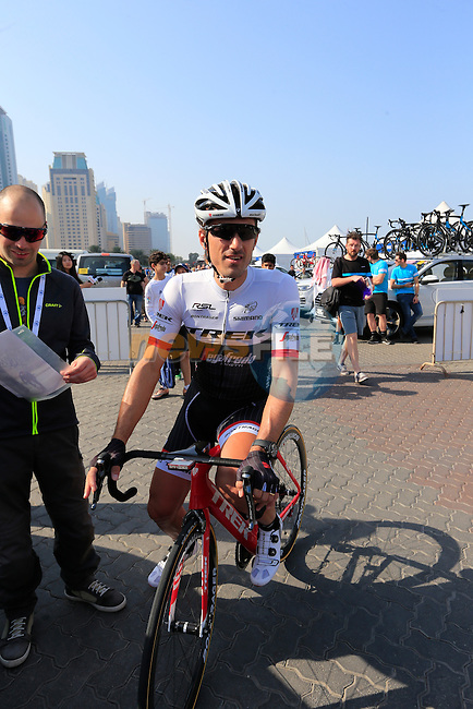 Fabian Cancellara (SUI) before the start of Stage 2, the Nakheel Stage, of the 2016 Dubai Tour starting at the Dubai International Marine Club and running 188km to Palm Jumeirah Atlantis, Dubai, United Arab Emirates. 4th February 2016.<br /> Picture: Eoin Clarke | Newsfile<br /> <br /> <br /> All photos usage must carry mandatory copyright credit (&copy; Newsfile | Eoin Clarke)