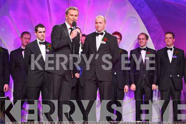 The Rose contestants being interviewed by Daithi O'Se at the Dome on Monday Night.