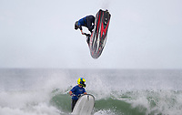Jetski rider Ryan Clarke of Australia shows his skill in the surf during the Yamaha NZ Festival of Freeride jetski event, held at Karioitahi Beach, Waiuku, New Zealand.   09 February 2018. Photo: Brett Phibbs / PhibbsVisuals