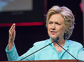 Hillary Clinton, the Democratic Party nominee for President of the United States, makes remarks at the 2016 National Association of Black Journalists (NABJ) and National Association of Hispanic Journalists (NAHJ) joint convention at the Washington Marriott Wardman Park Hotel in Washington, DC on Friday, August 5, 2016.  Following her prepared remarks, Secretary Clinton took questions from the moderators and from the audience.<br /> Credit: Ron Sachs / CNP<br /> (RESTRICTION: NO New York or New Jersey Newspapers or newspapers within a 75 mile radius of New York City)