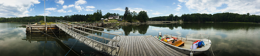 Boston Whaler Docked at Bagaduce Lunch, Brooksville, Maine, US