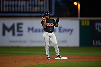 Lake Elsinore Storm second baseman Eguy Rosario (1) during a California League game against the Rancho Cucamonga Quakes at LoanMart Field on May 19, 2018 in Rancho Cucamonga, California. Lake Elsinore defeated Rancho Cucamonga 10-7. (Zachary Lucy/Four Seam Images)