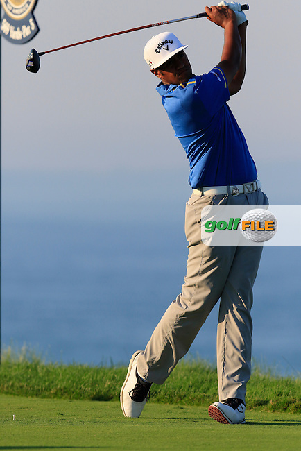 Tony Finau (USA) tees off the 16th tee during Saturday's Round 3 of the 97th US PGA Championship 2015 held at Whistling Straits, Mosel, Kohler, Wisconsin, United States of America. 15/08/2015.<br /> Picture Eoin Clarke, www.golffile.ie