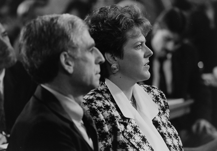 Sen. John Danforth, R-Mo., and Mrs. Virginia Thomas at Clarence Thomas's nomination hearing on October, 1991. (Photo by Laura Patterson/CQ Roll Call)