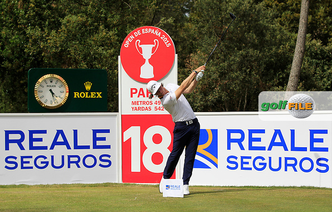 Kristoffer Broberg (SWE) on the 18th tee during the Pro-Am of the Open de Espana  in Club de Golf el Prat, Barcelona on Wednesday 13th May 2015.<br /> Picture:  Thos Caffrey / www.golffile.ie