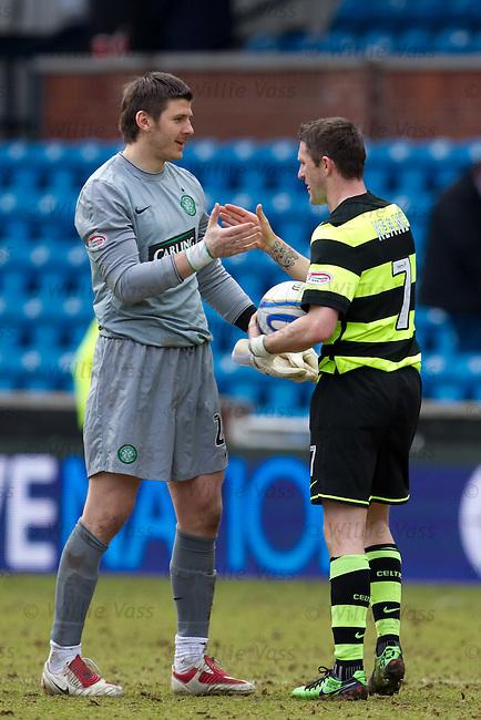 Lukasz Zaluska congratulates hat-trick hero Robbie Keane