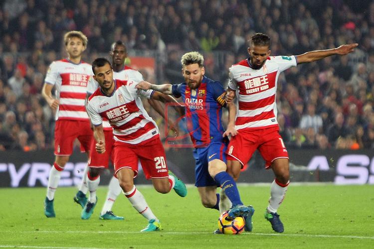 League Santander 2016/2017. Game: 10.<br /> FC Barcelona vs Granada CF: 1-0.<br /> Saunier, Lionel Messi &amp; Andreas.