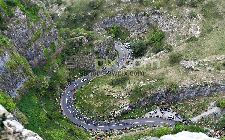 Picture by Simon Wilkinson/SWpix.com - 04/09/2018 - Cycling - OVO Energy Tour of Britain 2018 -  Stage 3 Bristol to Bristol - The Peloton passes through Cheddar Gorge in Somerset