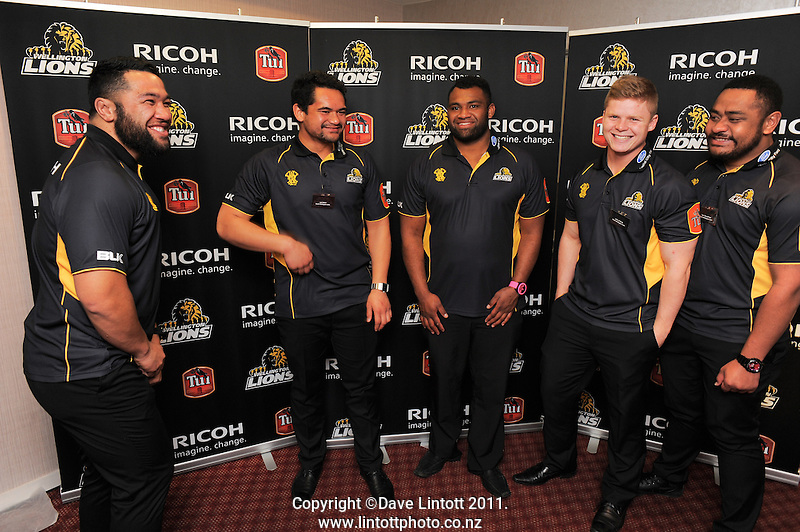 The front row club. Wellington Lions season launch at Rydges Hotel, Wellington, New Zealand on Monday, 11 August 2014. Photo: Dave Lintott / lintottphoto.co.nz
