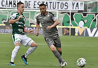 PALMIRA - COLOMBIA, 03-08-2019: Agustin Palavecino del Cali disputa el balón con Stalin Motta de Equidad durante partido entre Deportivo Cali y La Equidad por la fecha 4 de la Liga Águila II 2019 jugado en el estadio Deportivo Cali de la ciudad de Palmira. / Agustin Palavecino of Cali vies for the ball with Stalin Motta of Equidad during match between Deportivo Cali and La Equidad for the date 4 as part Aguila League II 2019 played at Deportivo Cali stadium in Palmira city. Photo: VizzorImage / Gabriel Aponte / Staff
