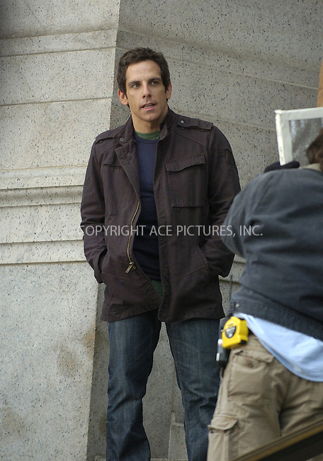 WWW.ACEPIXS.COM ** ** ** ....January 31 2006, New York City....Ben Stiller on the steps of the Natural History Museum where he is filming 'One Night at The Museum'.......Please byline: Philip Vaughan -- ACEPIXS.COM.. *** ***  ..Ace Pictures, Inc:  ..Philip Vaughan (212) 243-8787 or (646) 769 0430..e-mail: info@acepixs.com..web: http://www.acepixs.com
