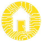 Connected home symbol conceptual illustration of circuits with a house symbol inside a yellow circle isolated on white background. Vector illustration is available on request.
