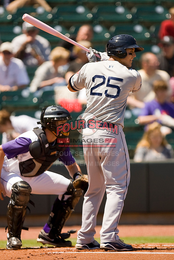 Anthony Rizzo #25 of the Salem Red Sox at bat against the Winston-Salem Dash at  BB&T Ballpark May 9, 2010, in Winston-Salem, North Carolina.  Photo by Brian Westerholt / Four Seam Images